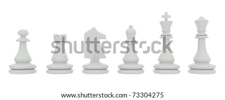 White chess pieces isolated on white background - stock photo