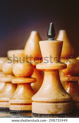 White Chess Wooden Figures. Concept Game. Close Up Focus - stock photo