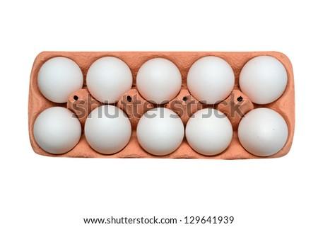 white chicken eggs in box - stock photo