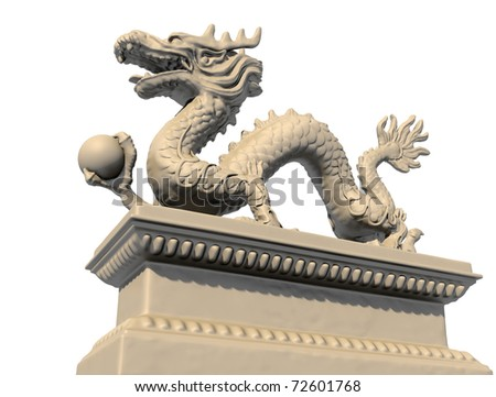 White Chinese dragon statue holding a ball in his claws, isolated against a white background. Bottom view 3D image. - stock photo