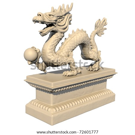 White Chinese dragon statue holding a ball in his claws, isolated against a white background. Perspective view 3D image. - stock photo