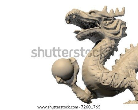 White Chinese dragon statue holding a ball in his claws, isolated against a white background. Close-up view 3D image. - stock photo