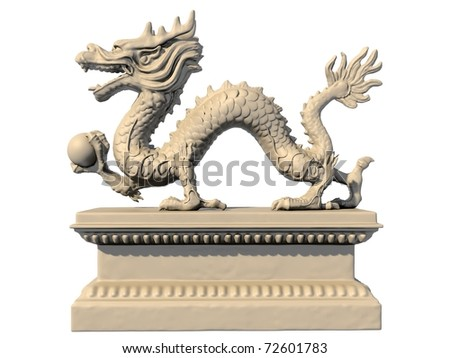 White Chinese dragon statue holding a ball in his claws, isolated against a white background. Side view 3D image. - stock photo