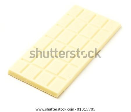white chocolate bar isolated on white background - stock photo