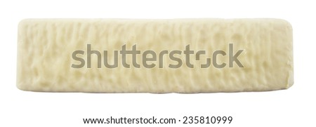 White chocolate bar with filling, on White background. - stock photo