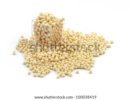 White chocolate beans for decoration isolated on white background