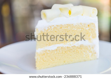 White chocolate cake in white plate - close up selective shot