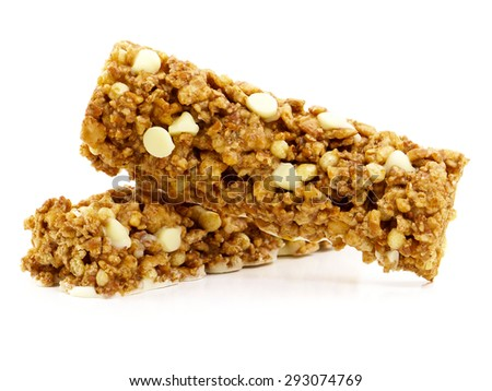 White chocolate cereal bars - stock photo