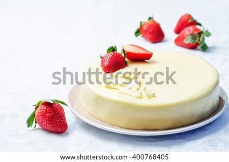 white chocolate cream cheese cake with strawberries. toning. selective focus - stock photo