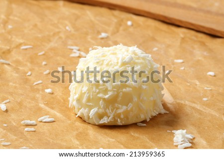 White chocolate marshmallow snowball covered in coconut - stock photo