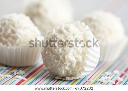 white chocolate truffles - stock photo