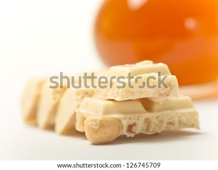 white chocolate with nuts - stock photo
