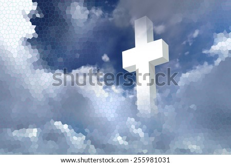 white christian cross on cloudy sky made in 2d software - stock photo