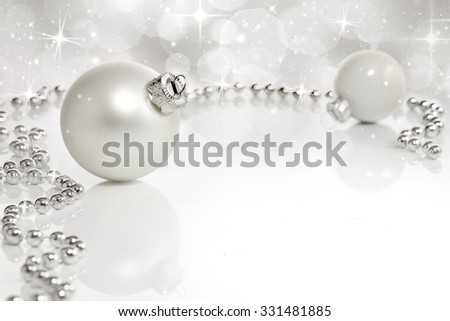 White Christmas and holiday background with ornament and decoration  - stock photo