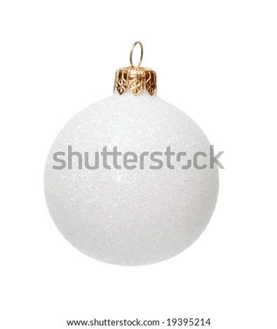 White Christmas ball, decoration for x-mas tree, isolated - stock photo