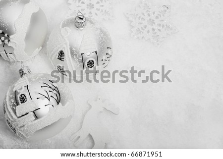 White christmas ball in snow - stock photo