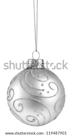 White Christmas Ball (Isolated) - stock photo