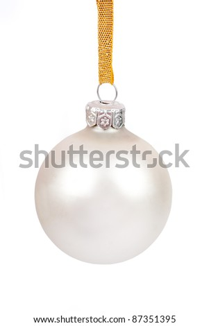 White christmas ball, isolated on white - stock photo