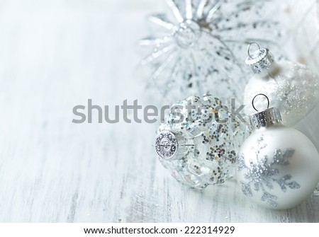 White Christmas balls; close up - stock photo