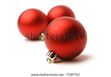 White Christmas balls isolated on white background - stock photo