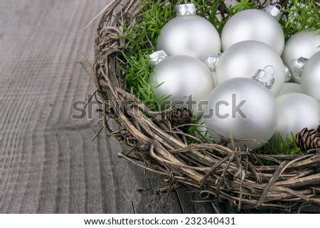 white christmas balls with green twig/christmas/christmas balls - stock photo