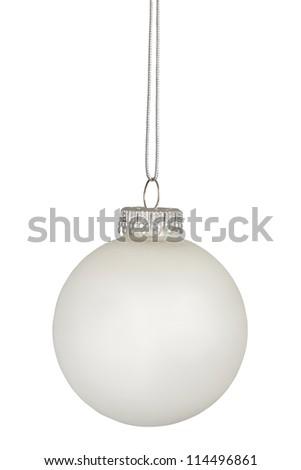 White christmas bauble isolated on white background - stock photo