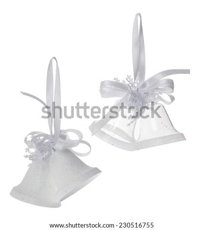 White Christmas bells decoration isolated on white background - stock photo