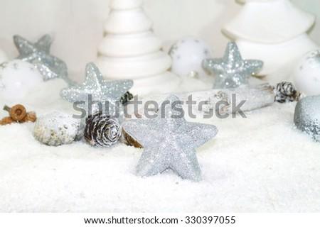 White Christmas - Christmas  stars - christmas decoration - stock photo