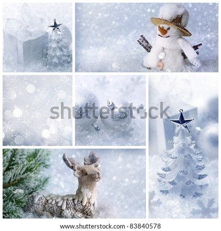 White christmas collage - stock photo
