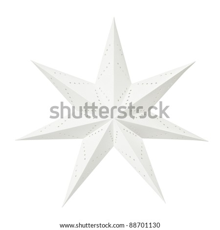 White Christmas decoration paper star isolated on white background - stock photo