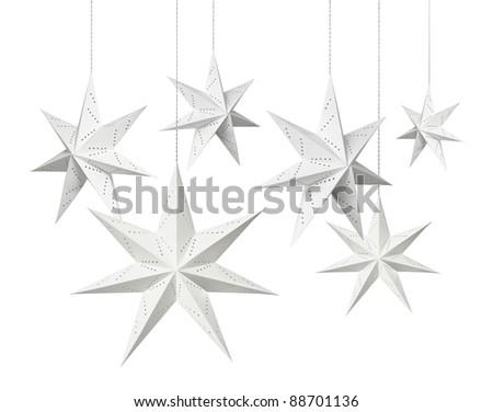 White Christmas decoration paper stars hanging isolated on white background - stock photo