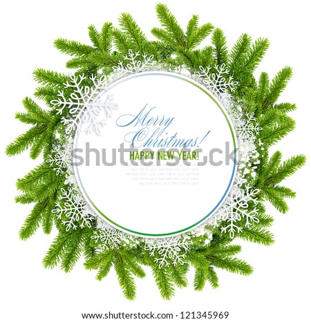 White christmas frame is with the branches of spruce and snowflakes on a white background - stock photo