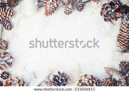 White Christmas frame with snow covered cones and stars on snow - stock photo