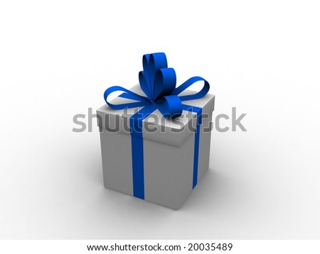 White christmas gift with blue ribbon