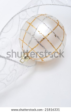 White christmas ornament on white background