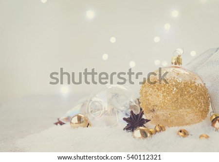 White christmas scene with snow - white and golden balls, retro toned