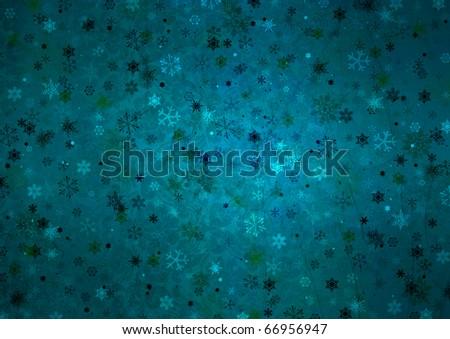 White christmas Seamless Pattern with snowflakes on blue background - stock photo