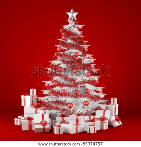 white christmas tree decorated with many presents and isolated on red background - stock photo