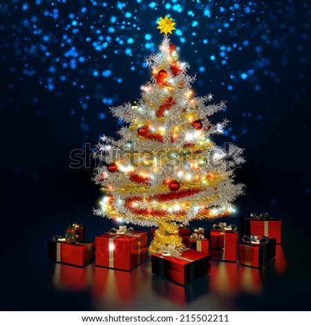 white christmas tree in dark blue background