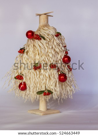 White christmas tree made wood shavings stock photo for White tree red ornaments