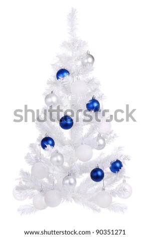 White Christmas tree on white background - stock photo