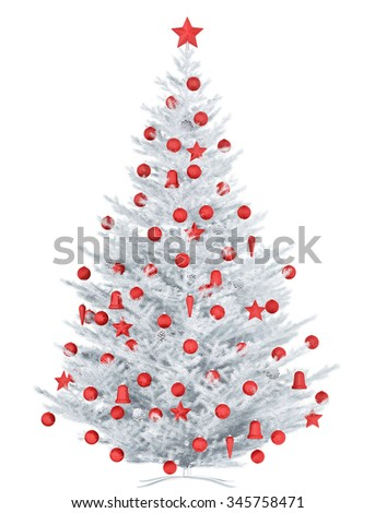 White Christmas tree with red baubles isolated 3d rendering - stock photo