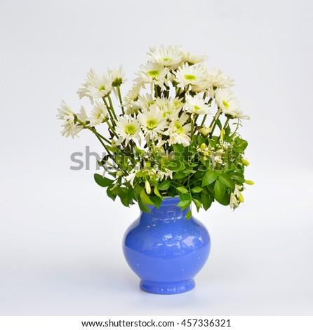 White chrysanthemum flower bouquet in vase - stock photo