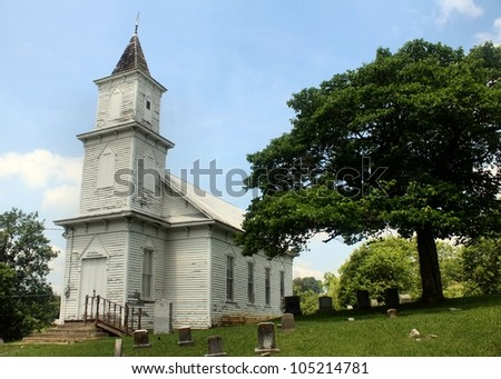 White Church Building with Bell Tower