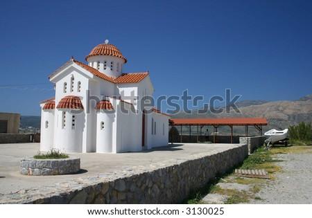 White church, Crete, western Greece - stock photo