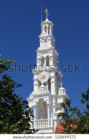 White church in Archangelos village, Rhodes, Greece - stock photo