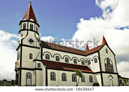 white church in the city of Puerto Varas in Chile