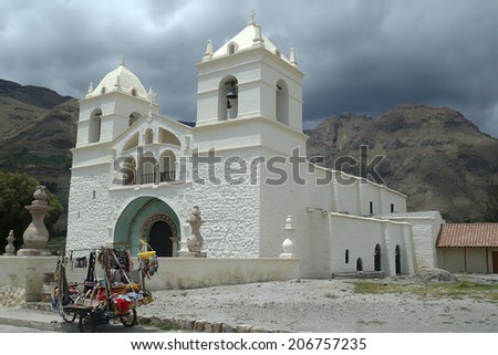 White church in the Colca Canyon, Peru  - stock photo