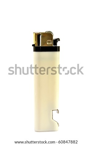 White cigarette lighter and an open bottle in one piece, isolated on a white background. - stock photo