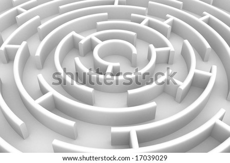 White circle labyrinth. 3D image. - stock photo